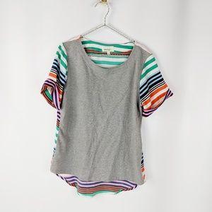 ANTHRO PORRIDGE mixed media striped t-shirt grey